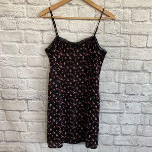 H&M Black Floral Slip Dress with Lace Trim